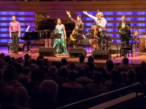 The ensemble from Encuentros: Serouj Kradjian, María Mulata, Grisha Goryachev, Fabio Zanon, Héctor Del Curto, Sarah Thawer. Photo by Trevor Haldenby.